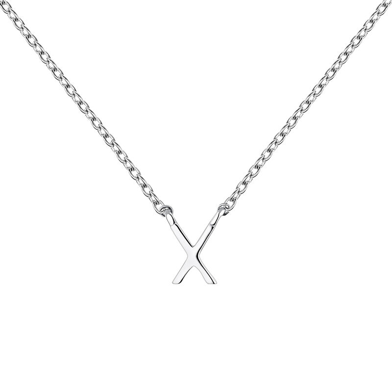 Collier iniciale X or blanc, J04382-01-X, hi-res