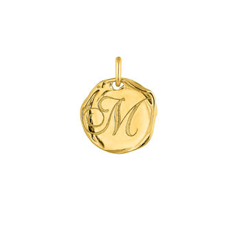Pendentif médaille initiale M en argent plaqué or, J04641-02-M, hi-res