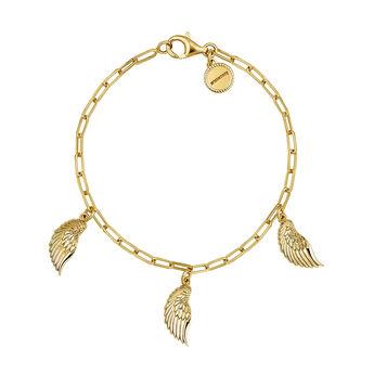 Gold wings charm bracelet, J04303-02, hi-res