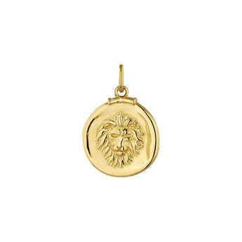 Pendentif lion argent plaqué or, J04780-02-LEO, hi-res