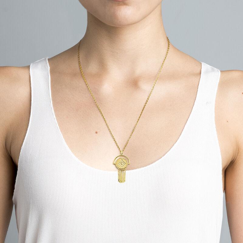 Collar círculo étnico plata recubierta oro, J04444-02, hi-res