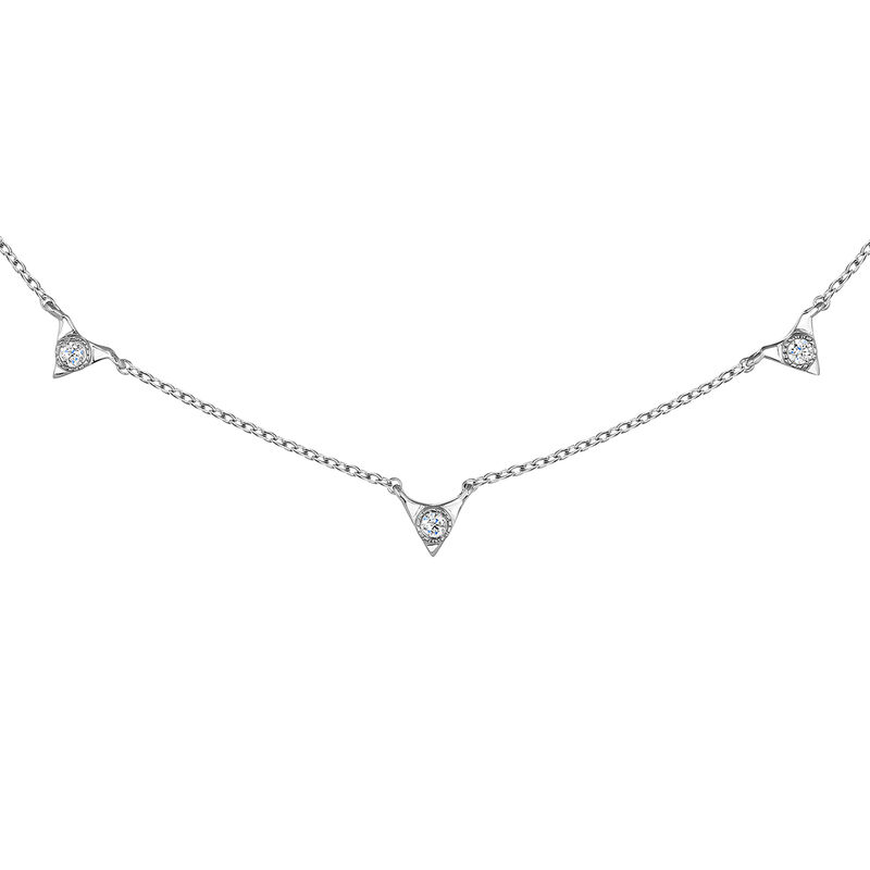 White gold triangles necklace 0.0675 ct, J03922-01, hi-res