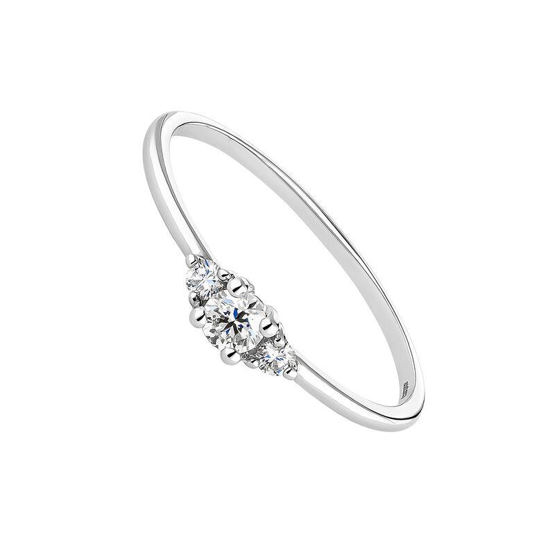 Anillo tres diamantes 0,15 ct oro blanco