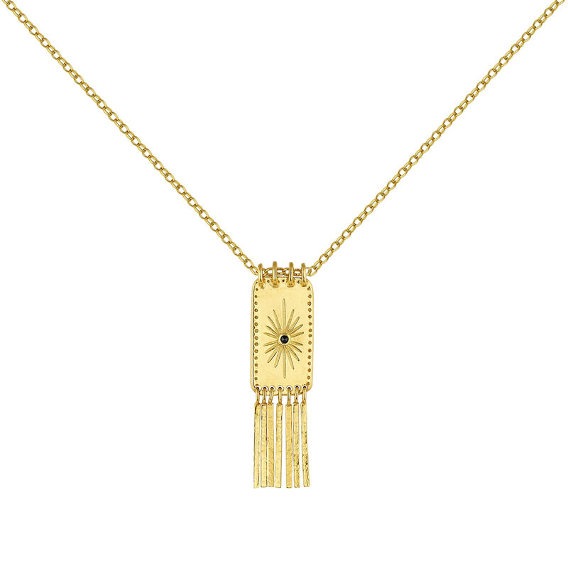 Gold plated rectangular bars ethnic necklace with spinels, J04453-02-BSN, hi-res