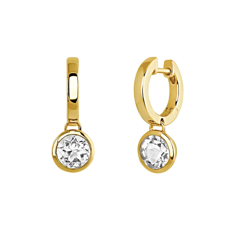 Gold plated hoop earrings with topaz, J03807-02-WT, hi-res