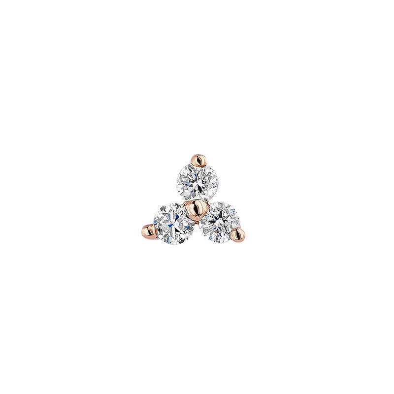Pendiente trébol diamantes 0,024 ct oro rosa
