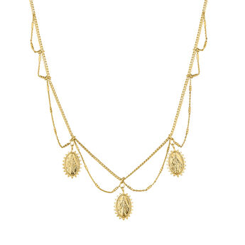 Gold plated oval medals necklace, J04721-02, hi-res