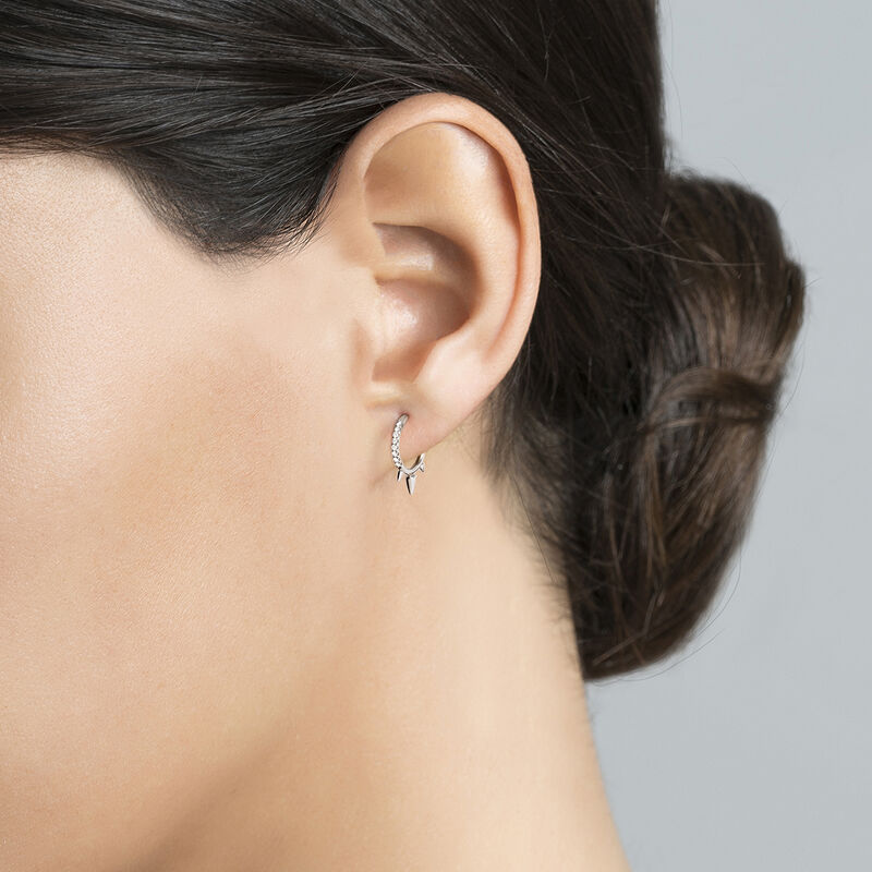 White gold three diamond spike hoop earring piercing 0.04 ct, J03873-01-H, hi-res