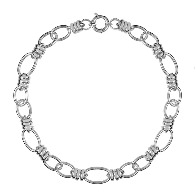 Silver spring link necklace, J01337-01, hi-res