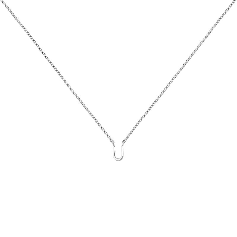White gold Initial U necklace, J04382-01-U, hi-res