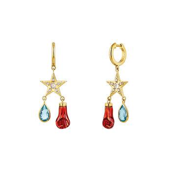 Gold plated star hoop earrings, J04293-02-SKYWT-EN, hi-res