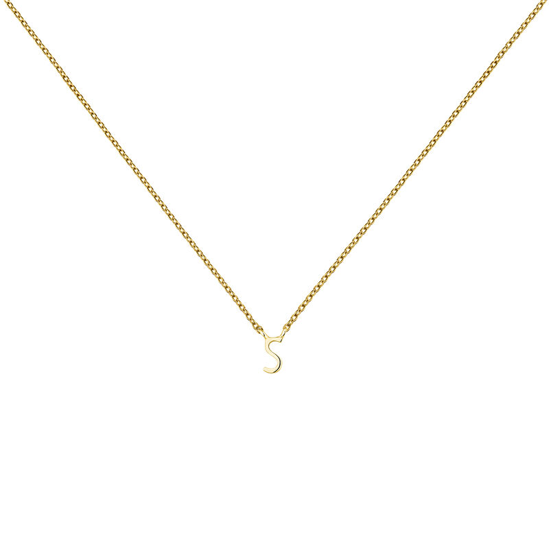 Gold Initial S necklace, J04382-02-S, hi-res