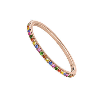 Rose gold multicolor sapphirs and tsavorite pavé ring, J04339-03-MULTI, hi-res
