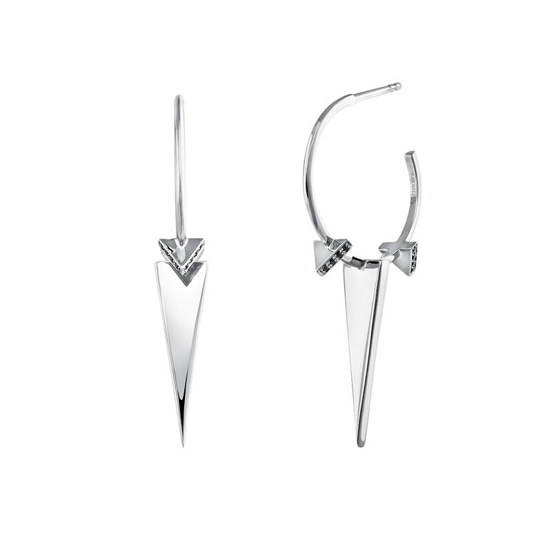Silver triangles hoop earrings with spinels, J03965-01-BSN, hi-res
