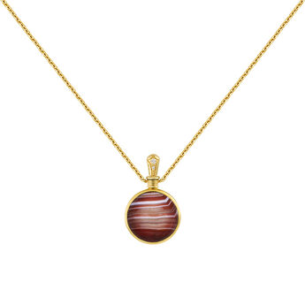 Small gold plated red agate necklace, J04124-02-BAAG-WT, hi-res