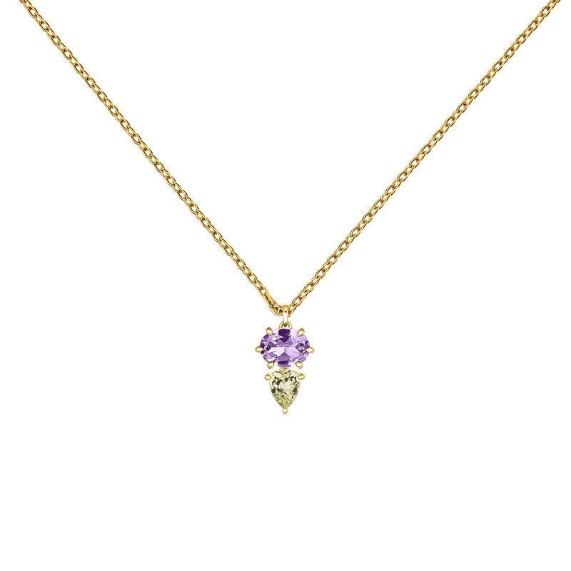 Gold plated geometric stones pendant, J03756-02-AM-LQ, hi-res