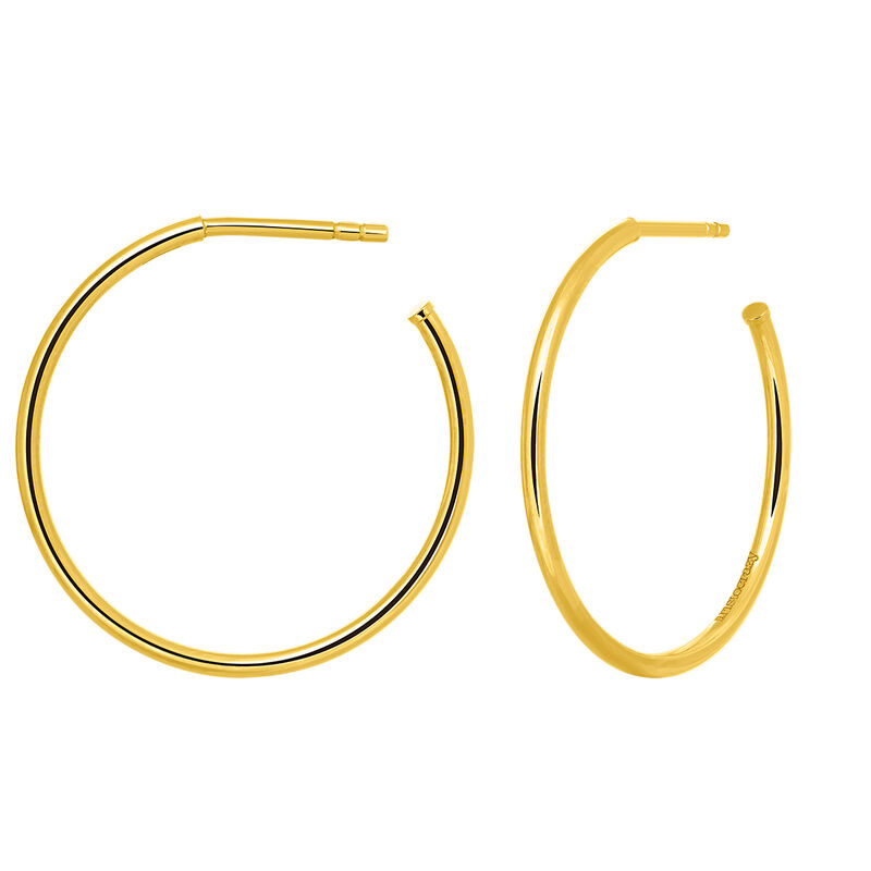Gold medium hoop earrings, J03519-02, hi-res