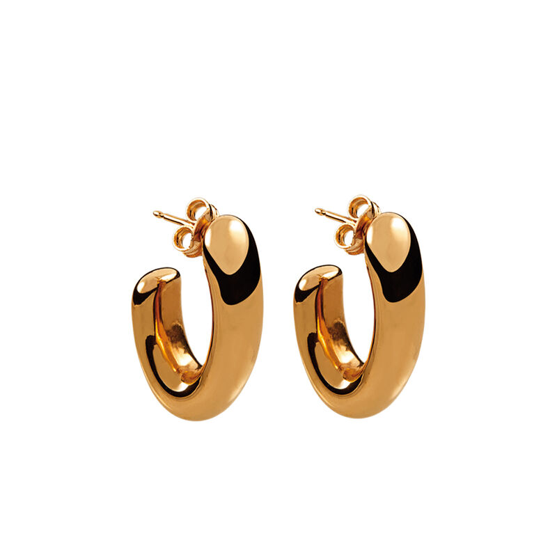 Medium rose gold plated oval thick earrings, J00799-03, hi-res