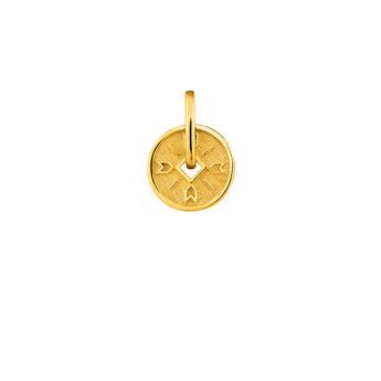 Pendentif medalla flechas plata recubierta oro, J04283-02, hi-res