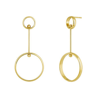 Gold plated silver piercing balls double hoop earrings, J04322-02, hi-res