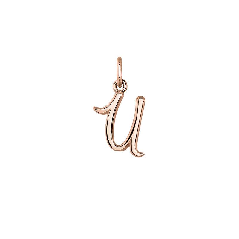 Pendentif lettre U argent plaqué or rose, J03932-03-U, hi-res