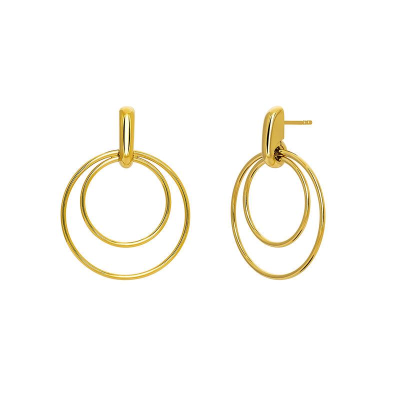 Boucles d'oreilles créoles double anneaux fins argent plaqué or, J03653-02, hi-res