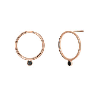 Rose gold spinel circle earrings, J03671-03-BSN, hi-res