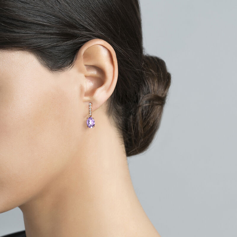 Long rose gold plated amethyst earrings, J03752-03-PAM-WT, hi-res