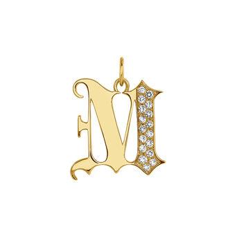 Pendentif lettre gothique M topaze or, J04015-02-WT-M, hi-res