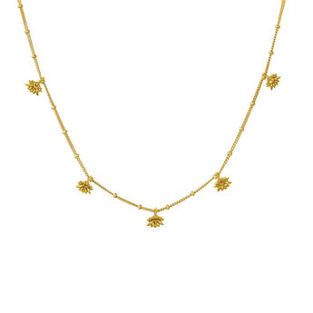 Gold plated lotus flower pendant motifs necklace, J04590-02, hi-res