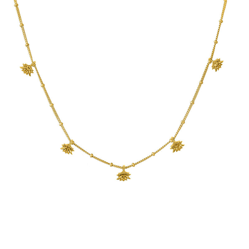 Gold plated lotus flower pendant motifs necklace, J04590-02, hi-res
