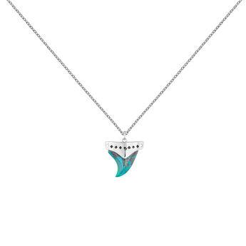 Collar colmillo crisocola plata, J04392-01-CH, hi-res