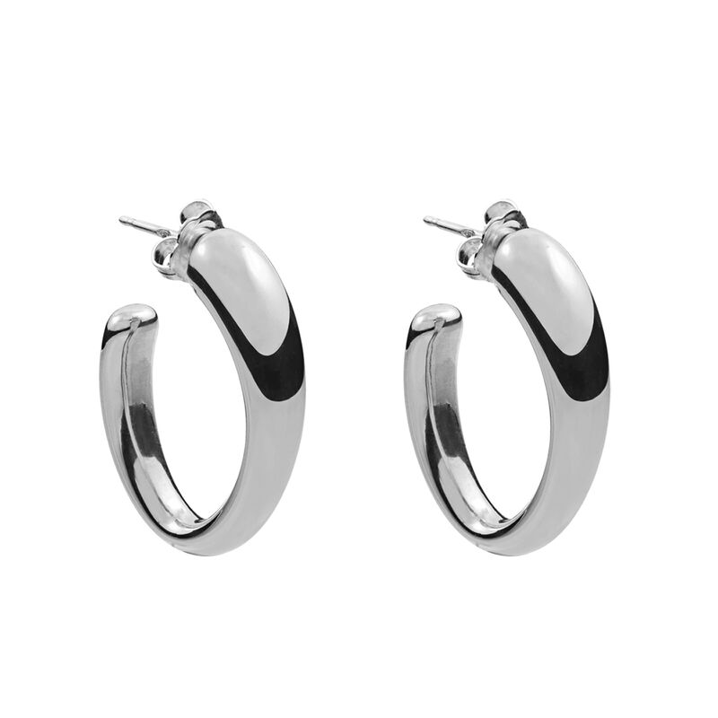 Silver medium oval earrings, J00800-01, hi-res