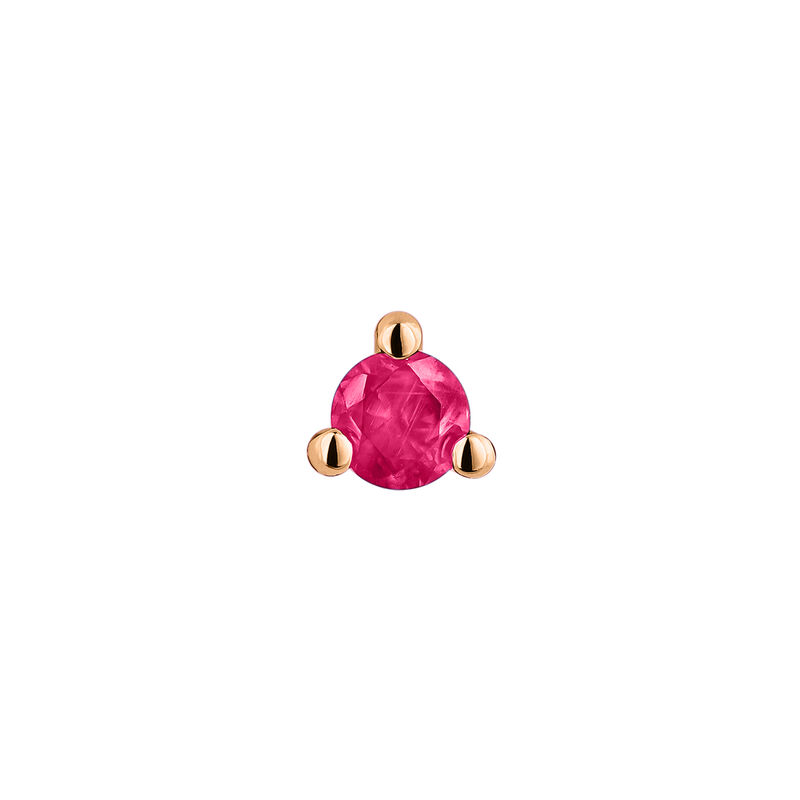 Mini rose gold ruby earring, J04345-03-RU-H, hi-res