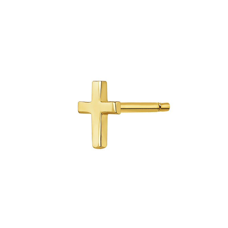 Pendiente cruz plata recubierta oro, J04870-02-H, hi-res