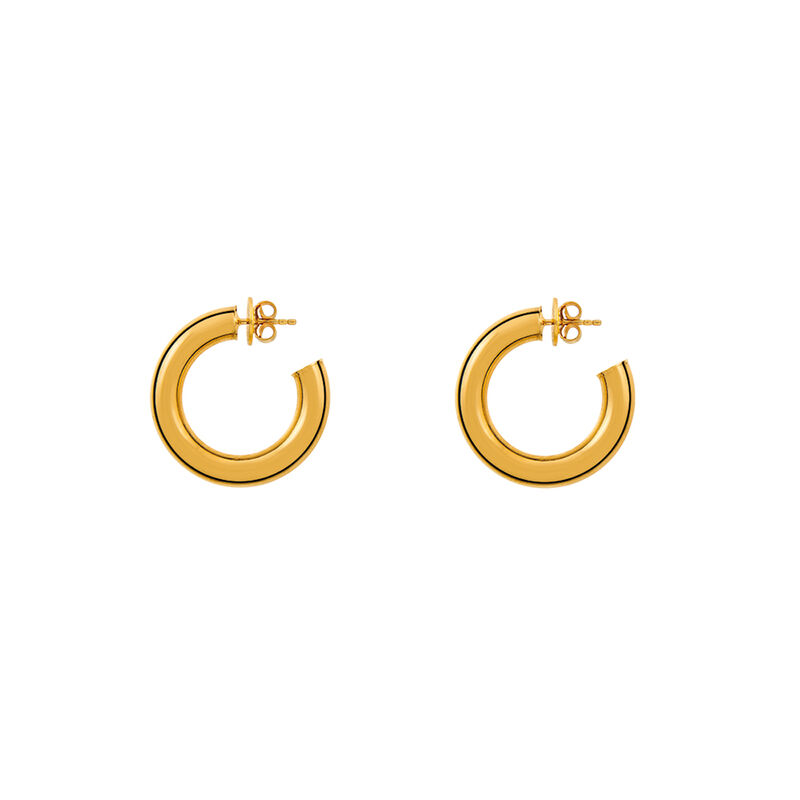 gold plated thick smooth hoop earrings, J01611-02, hi-res