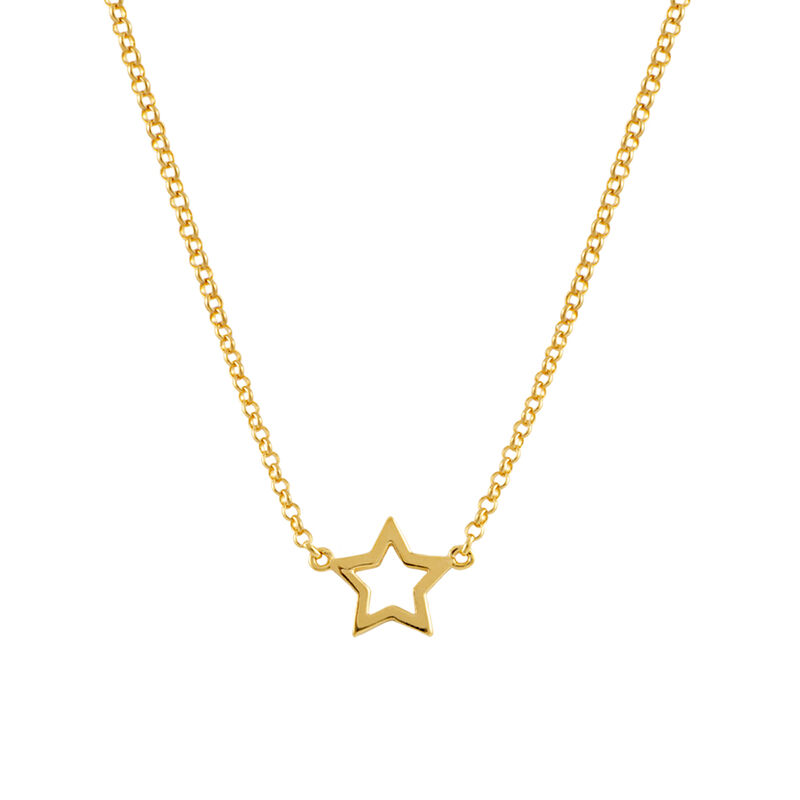 Gold plated hollow star necklace, J00659-02, hi-res