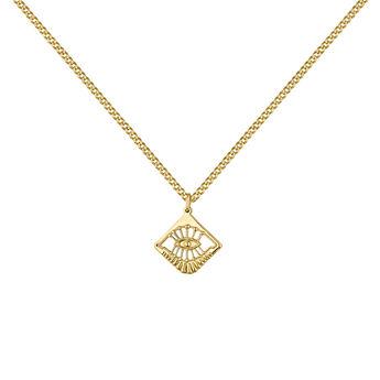 Gold plated eye necklace, J04713-02, hi-res