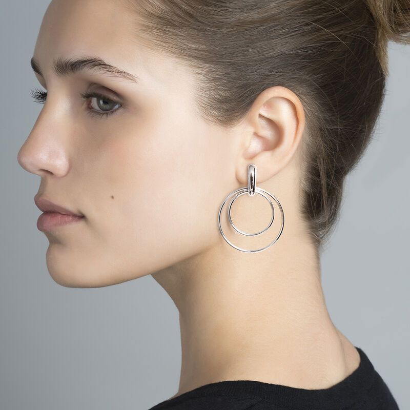 Thin silver double hoop earrings, J03653-01, hi-res