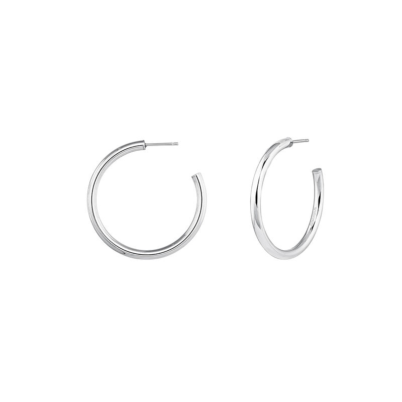 Medium hoop earrings silver, J04192-01, hi-res
