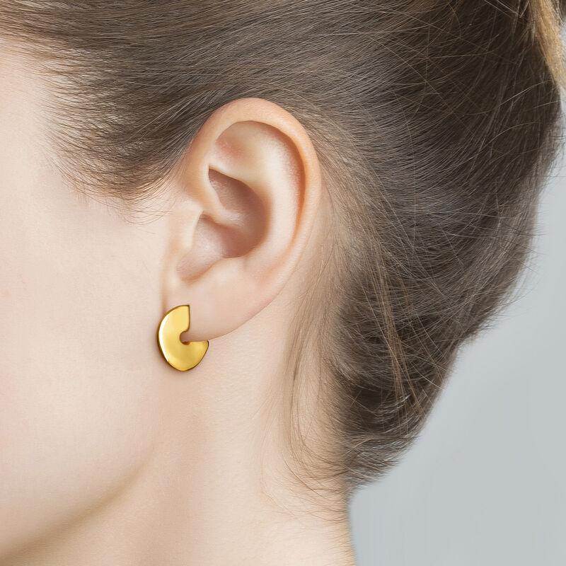 Pendientes de aro escultóricos pequeños oro, J03503-02, hi-res