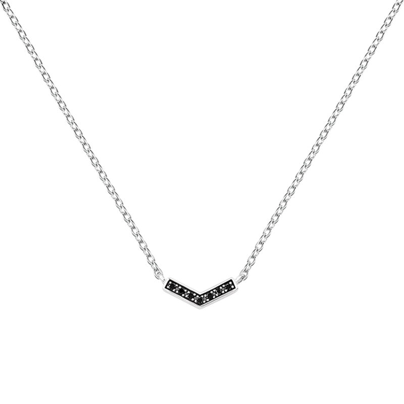 Silver v-shape necklace with spinels, J03293-01-BSN, hi-res
