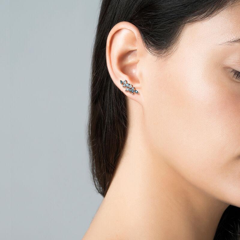 Rose gold climber earrings topaz, J03421-03-LBSBSK, hi-res