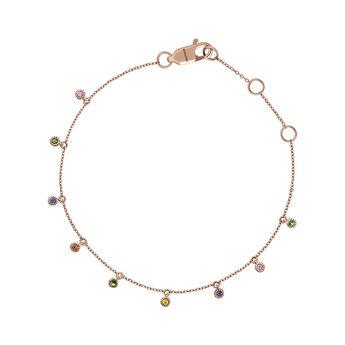 Pulsera zafiros multicolor y tsavorita oro rosa , J04353-03-MULTI, hi-res