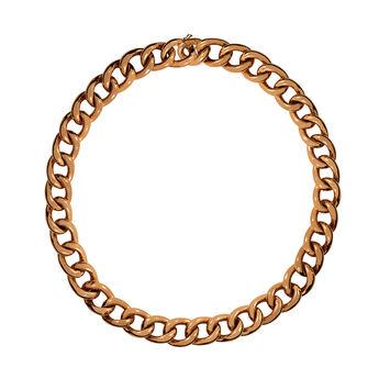Collier petit maillon courbé en argent plaqué or rose, J00907-03, hi-res