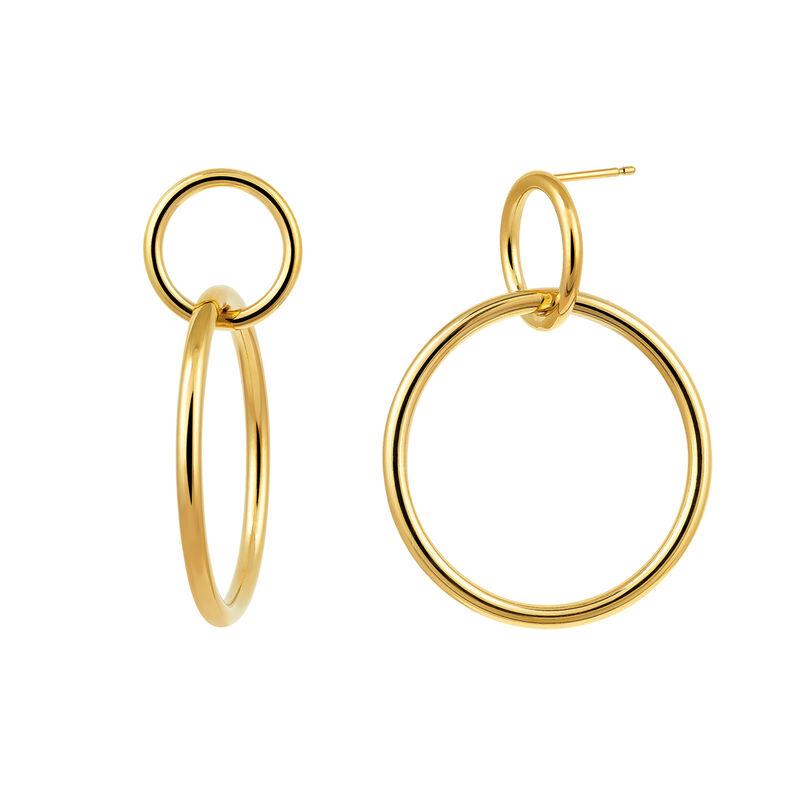Gold double hoop earring, J03432-02, hi-res