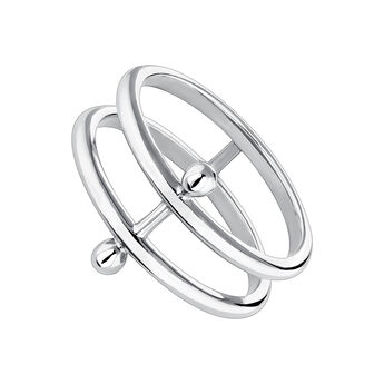 Silver piercing bar double ring, J04323-01, hi-res