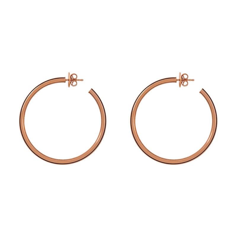 Large rose gold plated hoop earrings, J01591-03, hi-res