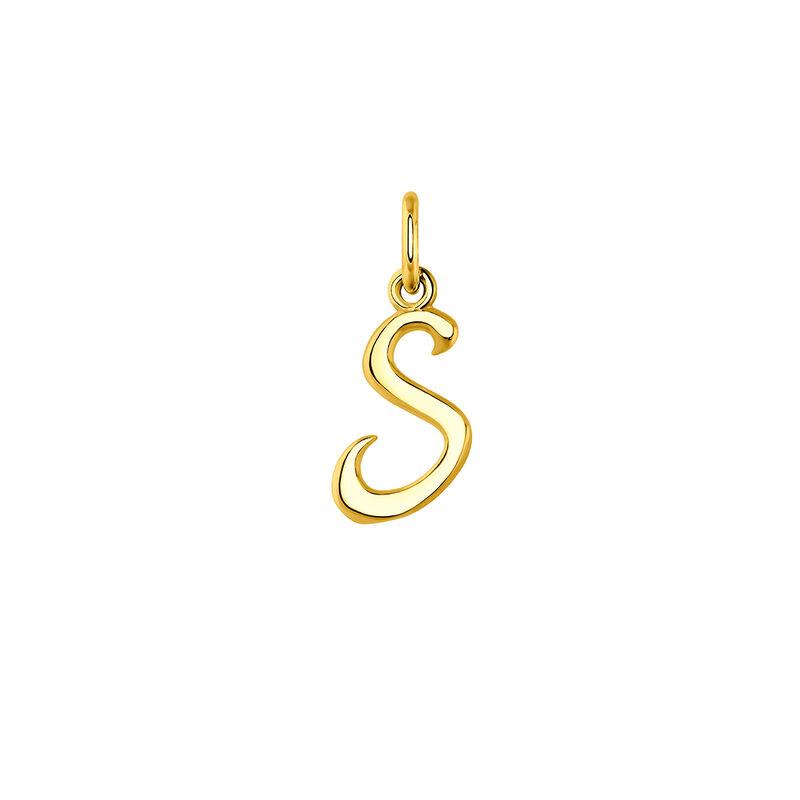 Colgante inicial S plata recubierta oro, J03932-02-S, hi-res