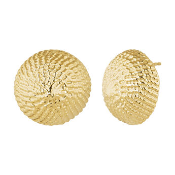 Pendientes maxi botón mimbre plata recubierta oro, J04414-02, hi-res